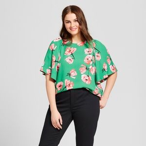 NWT Who What Wear Tulip Print Short Sleeve Blouse